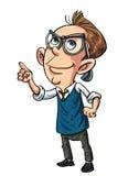 Cartoon nerd looking intelligent. Isolated on white Royalty Free Stock Image