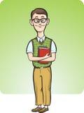 Cartoon nerd man smiling Stock Photo