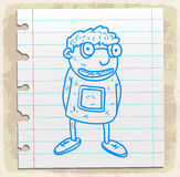 Cartoon nerd  on paper note, vector illustration Royalty Free Stock Photos