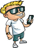 Cartoon nerd with a smart phone. Isolated on white Stock Image