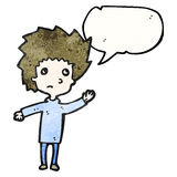 Cartoon nervous boy Royalty Free Stock Image