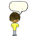 cartoon nervous boy with speech bubble Royalty Free Stock Photos