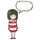 Cartoon nervous girl Stock Photography