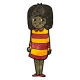 Cartoon nervous girl Stock Image