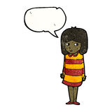 Cartoon nervous girl in striped dress Stock Photography