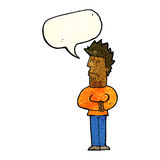 Cartoon nervous man with speech bubble Royalty Free Stock Photography