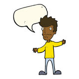 Cartoon nervous man with speech bubble Royalty Free Stock Image