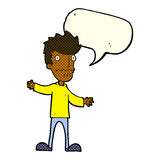 Cartoon nervous man with speech bubble Stock Photography