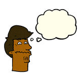 Cartoon nervous man with thought bubble Stock Photography
