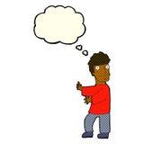 Cartoon nervous man with thought bubble Stock Photos