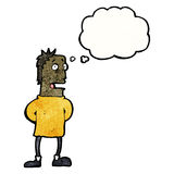 Cartoon nervous man with thought bubble Royalty Free Stock Photography