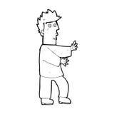 Cartoon nervous man waving Royalty Free Stock Photography