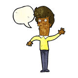 Cartoon nervous man waving with speech bubble Stock Photo