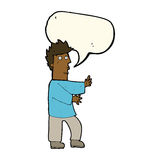 Cartoon nervous man waving with speech bubble Royalty Free Stock Images