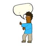 Cartoon nervous man waving with speech bubble Stock Photos