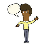 Cartoon nervous man waving with speech bubble Stock Images