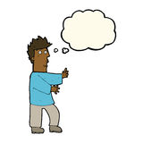 Cartoon nervous man waving with thought bubble Royalty Free Stock Image