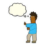 Cartoon nervous man waving with thought bubble Royalty Free Stock Photo