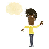 Cartoon nervous man waving with thought bubble Royalty Free Stock Photos