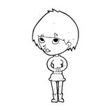 Cartoon nervous woman Royalty Free Stock Photo