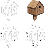Cartoon nesting box. Coloring book and dot to dot game for kids Royalty Free Stock Photo