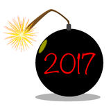 Cartoon 2017 New Year Bomb Stock Photography