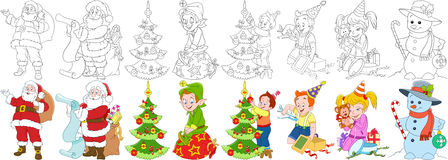 Cartoon new year set. Santa claus with presents and his helper elf, boy and girl with christmas gift boxes, child decorating fir tree, snowman, candy stick and royalty free illustration