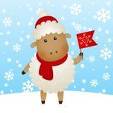 Cartoon New Year sheep Royalty Free Stock Image
