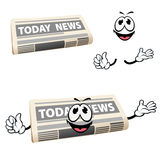 Cartoon news newspaper icon with hands Stock Images