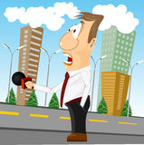 Cartoon news reporter with microphone Stock Images
