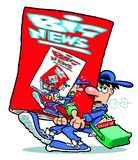 Cartoon newsboy. Cartoon caricature of newsboy delivering oversized paper or magazine Royalty Free Stock Photo