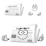 Cartoon newspaper with attention gesture Stock Image