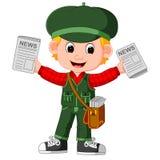 Cartoon Newspaper Boy yelling royalty free illustration