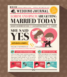 Cartoon Newspaper Wedding Invitation card Design. Cartoon Newspaper Journal Wedding Invitation Vector Design Template Royalty Free Stock Photo