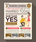 Cartoon Newspaper Wedding Invitation card Design. Cartoon Newspaper Journal Wedding Invitation Vector Design Template with illustration of a man making propose royalty free illustration