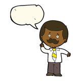 Cartoon newsreader man with idea with speech bubble Stock Images