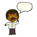 Cartoon newsreader man with idea with speech bubble Royalty Free Stock Photo