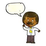 Cartoon newsreader man with idea with speech bubble Stock Photo