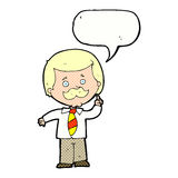 Cartoon newsreader man with idea with speech bubble Royalty Free Stock Image