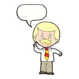 Cartoon newsreader man with idea with speech bubble Stock Image