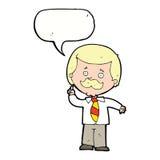 Cartoon newsreader man with idea with speech bubble Royalty Free Stock Photography