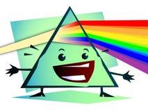 Cartoon Newton prism with rainbow Royalty Free Stock Photos