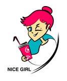 Cartoon nice girl Stock Image