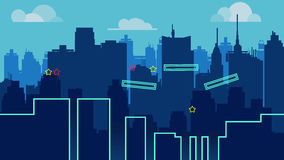 Cartoon night city landscape, vector unending background with road, buildings and sky layers Royalty Free Stock Images