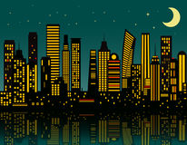 Cartoon night city Stock Photos
