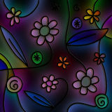 Cartoon Night Flowers Royalty Free Stock Photo