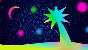 Cartoon night landscape - bright colorful palm tree on the background of the starry sky and the moon.
