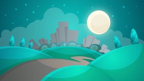 Cartoon Night Landscape. City, Moon, Tree, Road Illustration. Royalty Free Stock Photography