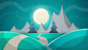 Cartoon night landscape. Fir, mountain. Royalty Free Stock Photography