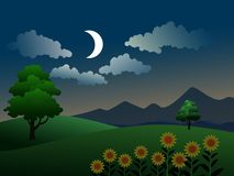 Free Cartoon Night Landscape In Countryside Stock Images - 158203264